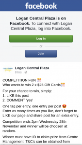 Logan Central Plaza – Win 2 X $25 Gift Cards&#127882 (prize valued at $50)