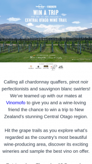 Lonely Planet & Vinomofo – Win a Trip to New Zealand's Stunning Central Otago Region (prize valued at $5,000)
