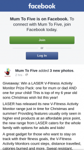 Mum to Five – Win a Laser V-Fitness Activity Monitor Prize Pack