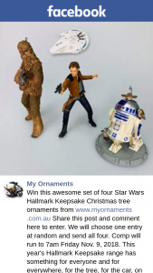 My Ornaments – Win this Awesome Set of Four Star Wars Hallmark Keepsake Christmas Tree Ornaments From Wwwmyornaments Share this Post and Comment Here to Enter