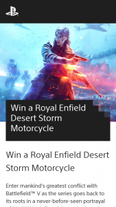 Playststion – Win a Royal Enfield Desert Storm Motorcycle (prize valued at $9,690)
