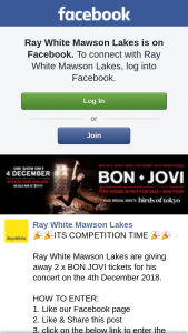 Ray White Mawson Lakes – 2 X Bon Jovi Tickets for His Concert on The 4th December 2018.