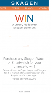 Skagen – Win a Trip for Two (2) Adults to Denmark Valued at Up to Au$20476 Depending on Date and Point of Departure (prize valued at $20,000)