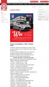 St John SA – Win a Toyota Yaris Ascent (prize valued at $18,427.25)