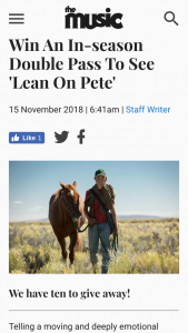 The Music – Win an In-Season Double Pass to See 'lean on Pete'