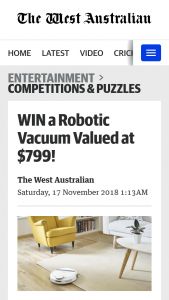 The West Australian – Win a Robotic Vacuum Valued at $799 (prize valued at $799)