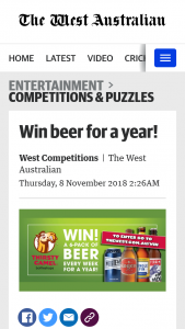 The West – Win Beer for a Year (prize valued at $800)