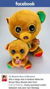 Ty beanie boo beanies – Win a Large and a Medium Bella The Brown Bear Beanie Boo From Buffly/2nmt2jj