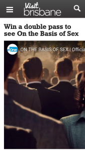 Visit Brisbane – Win a Double Pass to See on The Basis of Sex