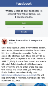 Willow Bears – Win this Adorable Emily (prize valued at $499)