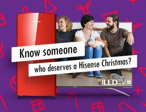 Hisense – Win a Hisense 55″ Series 7 Uled 4K TV and 157L bar fridge for your best friend for Christmas