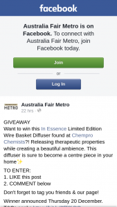 Australia Fair Metro – Win this In Essence Limited Edition Wire Basket Diffuser Found at Chempro Chemists
