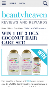 Beauty Heaven – Will Score a Coconut Hair Care Set Featuring