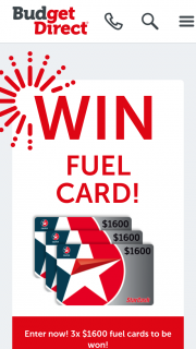 Budget Direct – Win Fuel Cardsprize Pack & Vouchers (prize valued at $1,600)