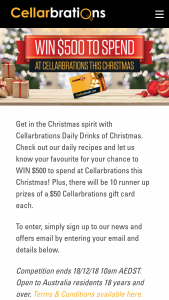 Cellarbrations – Win a $500 Gift Card to Spend at Cellarbrations this Christmas (prize valued at $1,000)