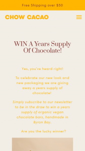 Chow Cacao – Win a Years Supply of Chocolate