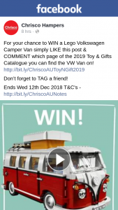 Chrisco – Win a Lego Volkswagen Camper Van (prize valued at $170)