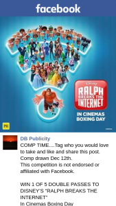 "DB Publicity – Win 1 of 5 Double Passes to Disney's ""ralph Breaks The Internet"""