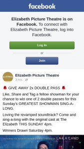 Elizabeth Picture Theatre – Win One of 2 Double Passes for this Sunday's Greatest Showman Sing-A-Long