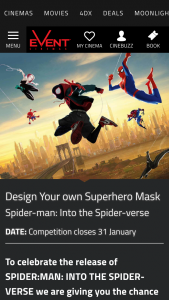 Event Cinemas Design your own superhero mask – With The Prize Awarded to The Most Creative Entry at Each Participating Site