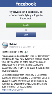 Flybuys – Will Be Contacted By Tuesday 11 December 2018.