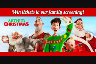 Hot91 – Tickets for You and Your Family to Relive The Fun of 'arthur Christmas' at Bcc Cinemas Maroochydore