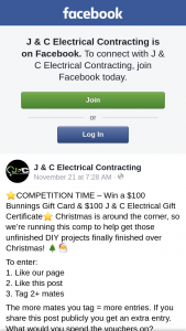 J & C Electrical Contracting – Restricted to Perth Wa Only (prize valued at $200)