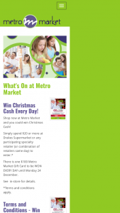 Metro Market – Win Christmas Cash Every Day (prize valued at $2,100)