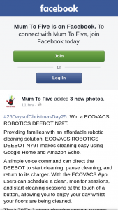 Mum to Five – Win a Ecovacs Robotics Deebot N79t (prize valued at $299)
