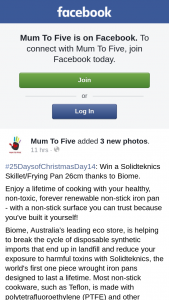 Mum to Five – Win a Solidteknics Skillet/frying Pan 26cm Thanks to Biome (prize valued at $149.95)