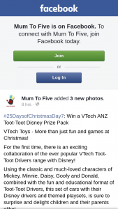 Mum to Five – Win a Vtech Anz Toot-Toot Disney Prize Pack (prize valued at $101.8)