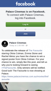 Palace Cinemas – Win a Signed Poster From Olivia Colman
