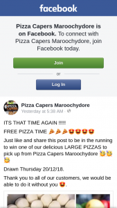 Pizza Capers Maroochydore – Win One of Our Delicious Large Pizzas to Pick Up From Pizza Capers Maroochydore