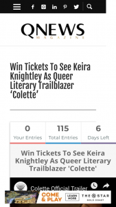 QNews – Win Tickets to See Keira Knightley As Queer Literary Trailblazer 'colette'