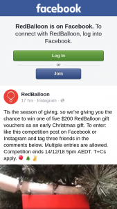 Red Balloon – Win One of Five $200 Redballoon Gift Vouchers As an Early Christmas Gift (prize valued at $200)