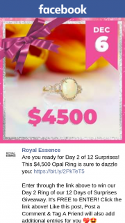 Royal Essence – Win Our Day 2 Ring of Our 12 Days of Surprises Giveaway