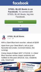 Steel Blue Boots – Win a Steel Blue Boot Voucher (prize valued at $200)