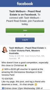 Tash Welburn Peard Real Estate – Win a $100 Gift Voucher to Spend at The Amazing Ms Demeanour Boutique In East Victoria Park (prize valued at $100)