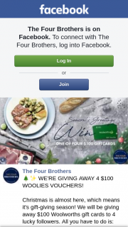 The Four Brothers Butchers – 4 $100 Woolies Vouchers (prize valued at $400)