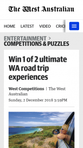 The West – Win The Ultimate Wa Road Trip Experience (prize valued at $3,396)