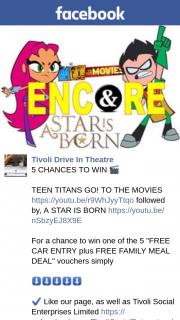 "Tivoli Drive-In theatre – Win One of The 5 ""free Car Entry Plus Free Family Meal Deal"" Vouchers Simply"