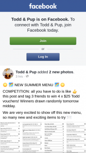 Todd & Pup – Win 4 X $25 Todd Vouchers (prize valued at $75)