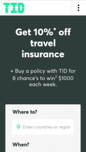 Travel Insurance Direct – $1000 Cash‡ to One Lucky Tid Traveller (prize valued at $8,000)