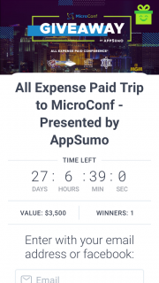 App Sumo – Win an All Expenses Paid Trip to Las Vegas (prize valued at $3,500)