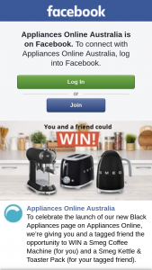 Appliances Online Aust – Win a Smeg Coffee Machine (for You) and a Smeg Kettle & Toaster Pack (for Your Tagged Friend). (prize valued at $499)