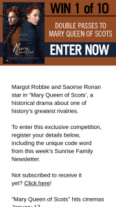 Channel 7 – Sunrise – Win One of Ten Mary Queen of Scots Double Passes