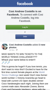 Cosi Andrew Costello – Tickets to The World Tennis Challenge??
