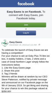 Easy Eaves – Win an Esky Plus 70 Litre Ice Box (prize valued at $350)