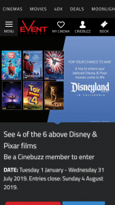 Greater Union-Event Cinemas – Win a Trip to Disneyland Resort See 4 Out of 6 Disney Pixar Films