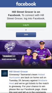 Hill Street Grocer – Please Like Our Facebook Page (prize valued at $1)